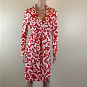 DVF classic red and ivory silk wrap dress Size S